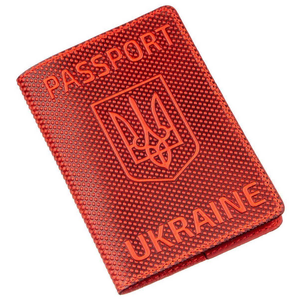 Обложка на паспорт Shvigel 13958 с точечным тиснением кожаная Красная, Красный
