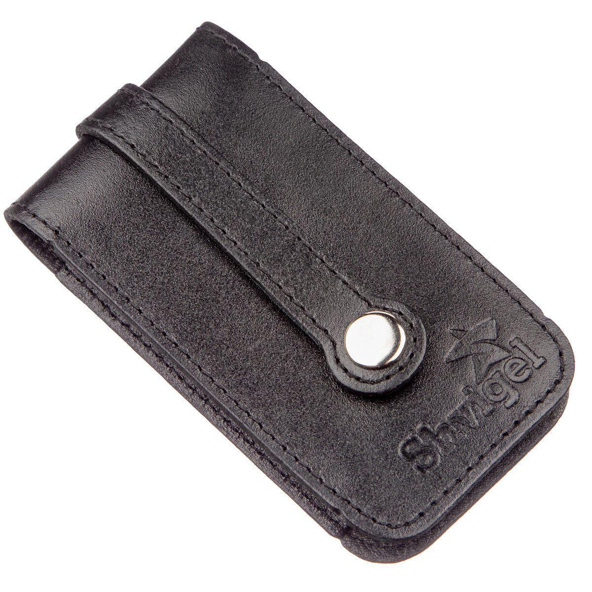 Компактная кожаная ключница SHVIGEL 13961 Черная, Черный