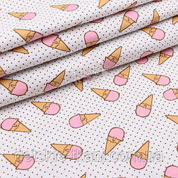 """Фланель детская """"Мороженое рожок с мелким горошком"""" розовый на белом, ширина 180 см"""