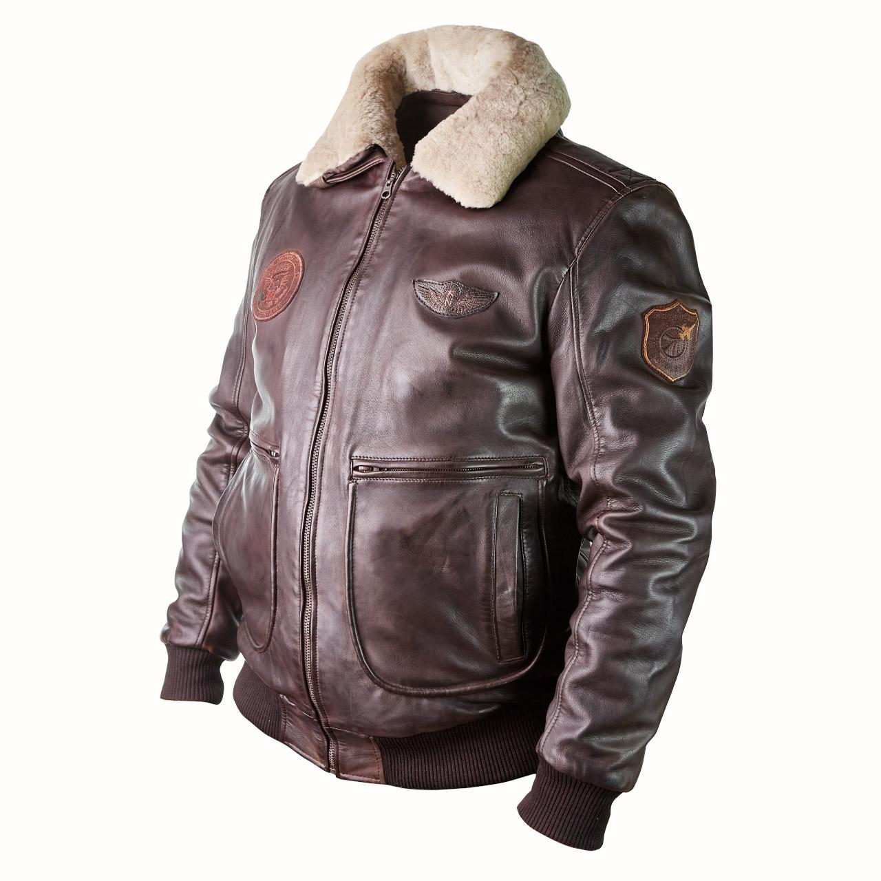 Мужская лётная куртка пилот PHANTOM кожаная темно-коричневая