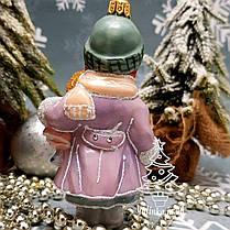 Скляна ялинкова іграшка Дівчинка з лялькою Irena Глянець, фото 2