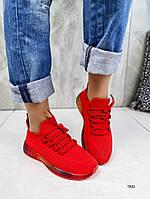 Женские кроссовки красные  обувном текстиле