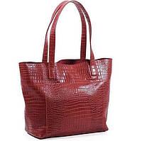 Стильная кожаная красная сумка под крокодила