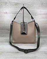 Бежевая женская сумочка! Маленькая сумка кросс-боди 57609 через плечо молодежная, фото 1