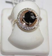 Кольцо с круглым черным камнем серебро Афина
