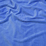 Однотонный ХБ велюр тёмно-голубого цвета, фото 3