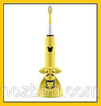 Детская зубная щетка Happy Panda (желтая), звуковая аккумуляторная, TM iSonic.