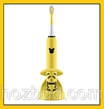Дитяча зубна щітка Happy Panda (жовта), звукова акумуляторна, TM iSonic.
