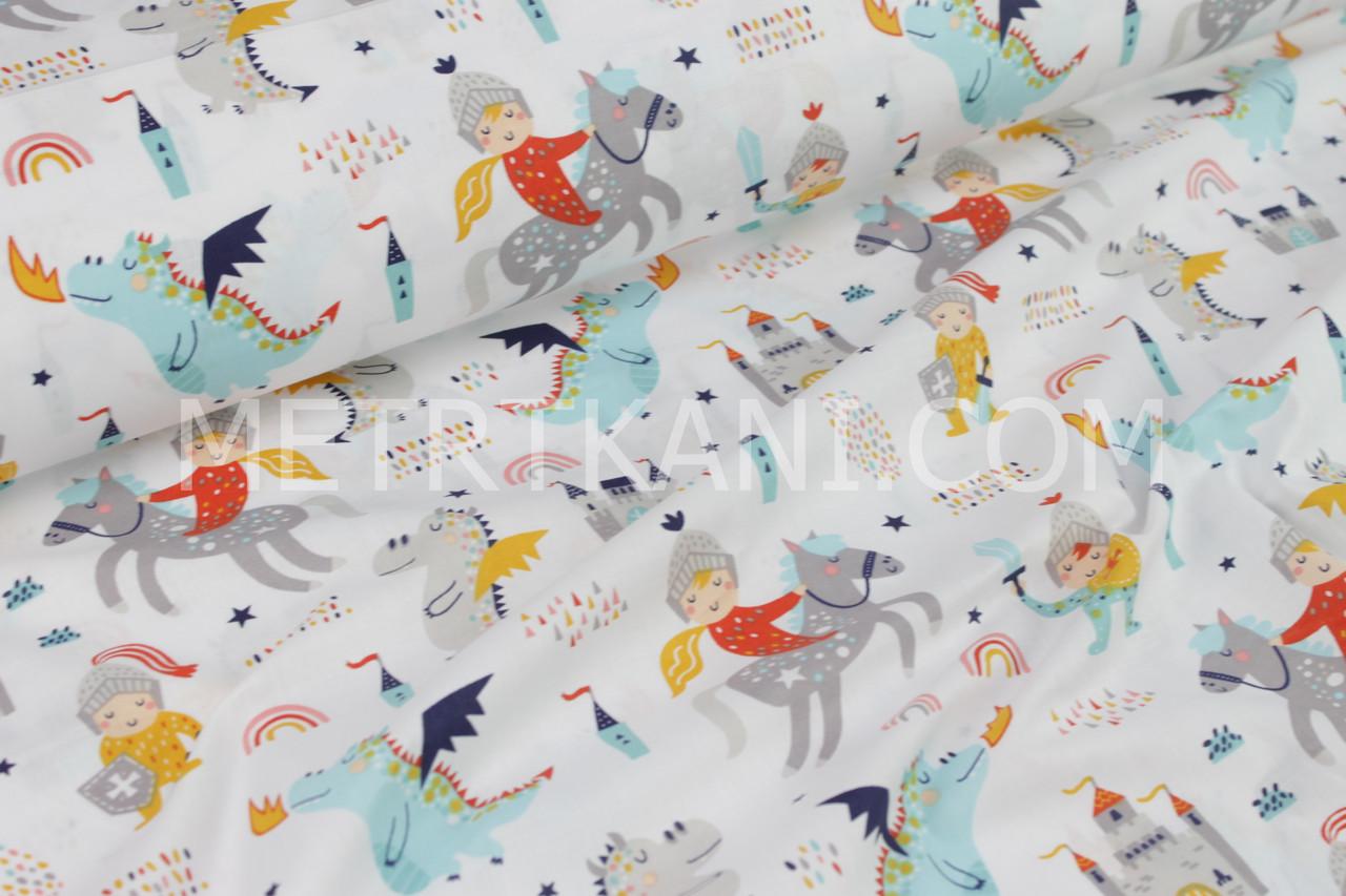 """Ткань хлопковая   """"Рыцари, драконы, замки """"  на белом фоне  №1669"""