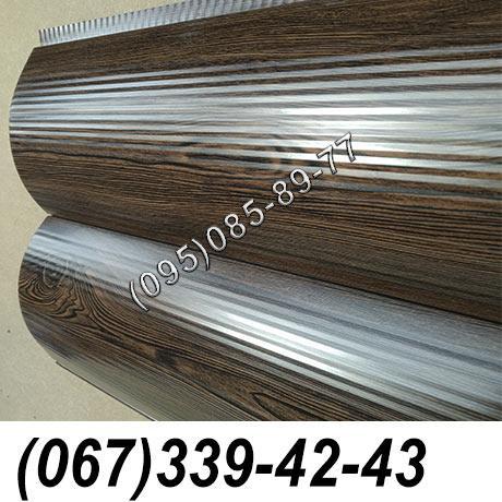 Сайдинг металлический 067-339-42-43 под дерево, брус Темный Дуб (шир. 0,35 м)