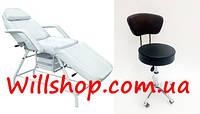 АКЦИЯ!!! Косметологическая кушетка +стул мастера 262 белая+591 чёрный