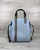 Голубая сумка T5203 женская молодежная с косметичкой через плечо, фото 1