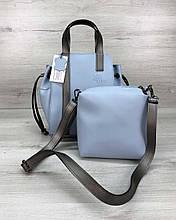 Блакитна сумка 2 в 1 жіноча вертикальна молодіжна з косметичкою через плече