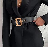 Пояс женский кожаный ремень с люверсами черный широкий с золотой пряжкой