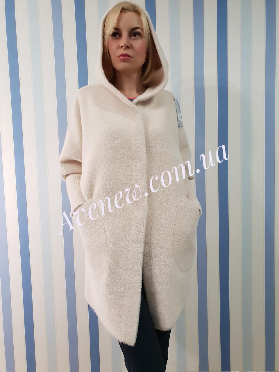 Пальто-кардиган из шерсти альпака с капюшоном