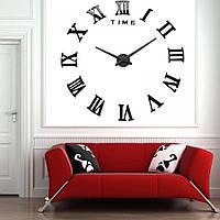 Большие настенные часы 3D, диаметр 60-130 см ReD Римские цифры, черного цвета