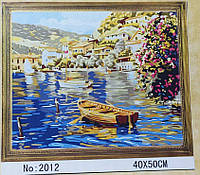 """Картина-раскраска по номерам на холсте 40*50 G181 """"Лодка на озере"""" (набор акриловых красок+2 кисти)"""
