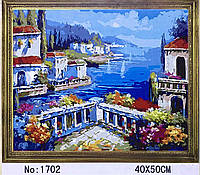"Картина-раскраска по номерам на холсте 40*50 G277 ""Городок на берегу моря"" (набор акриловых красок+2 кисти)"
