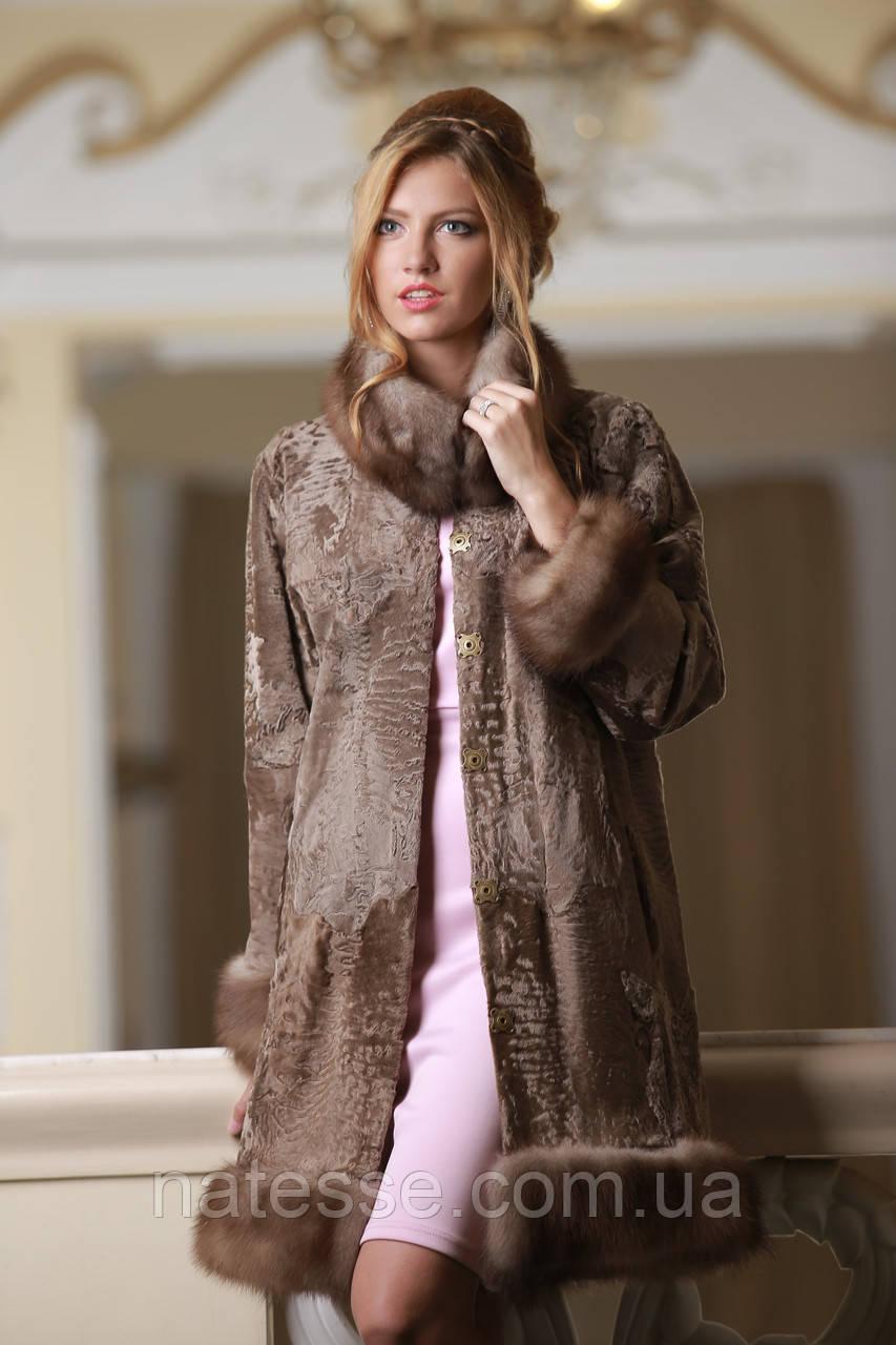 Пальто из каракульчи со съемной опушкой из куницы swakarabroadtail jacket coat furcoat