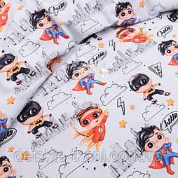 """Бавовняна тканина з цифровою печаткою """"Супергерой"""" на світло-сірому №2610с"""