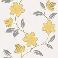 Обои бумажные акриловые (пенообои) а  0,53*10,05 цветы Слобожанские желтый