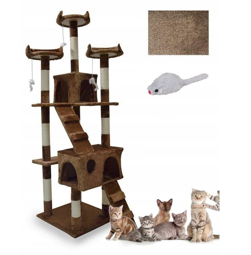 Когтеточка с домиком для кошек 170 см коричневый