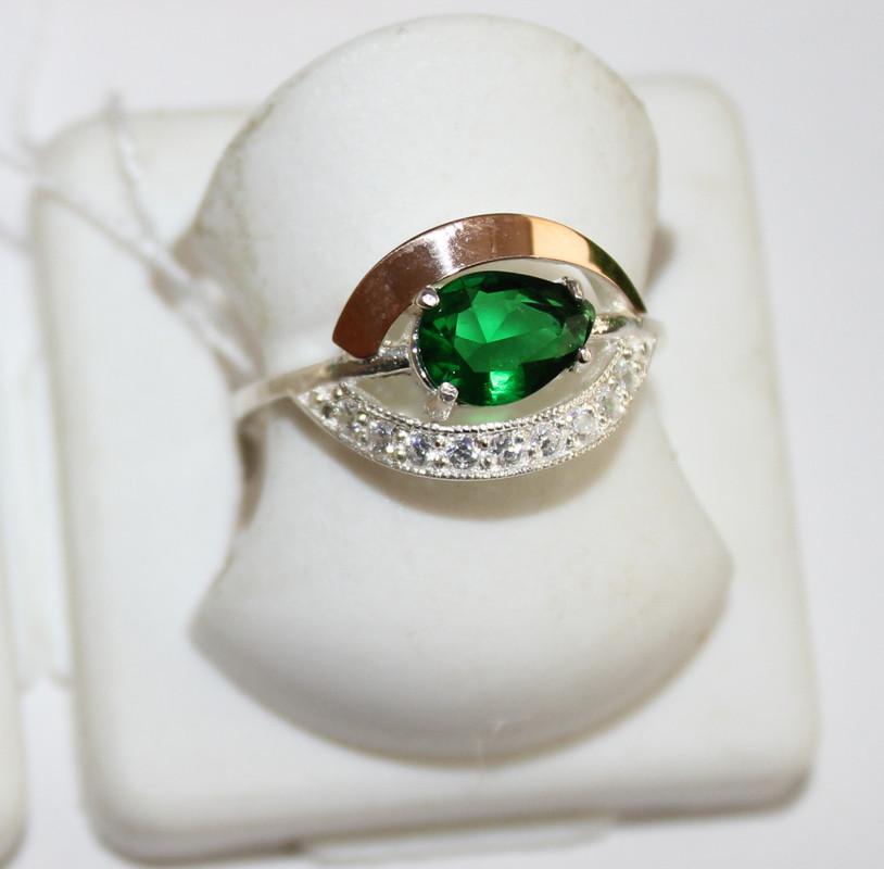 Серебряное колечко с зеленым цирконом и золотом Соломия