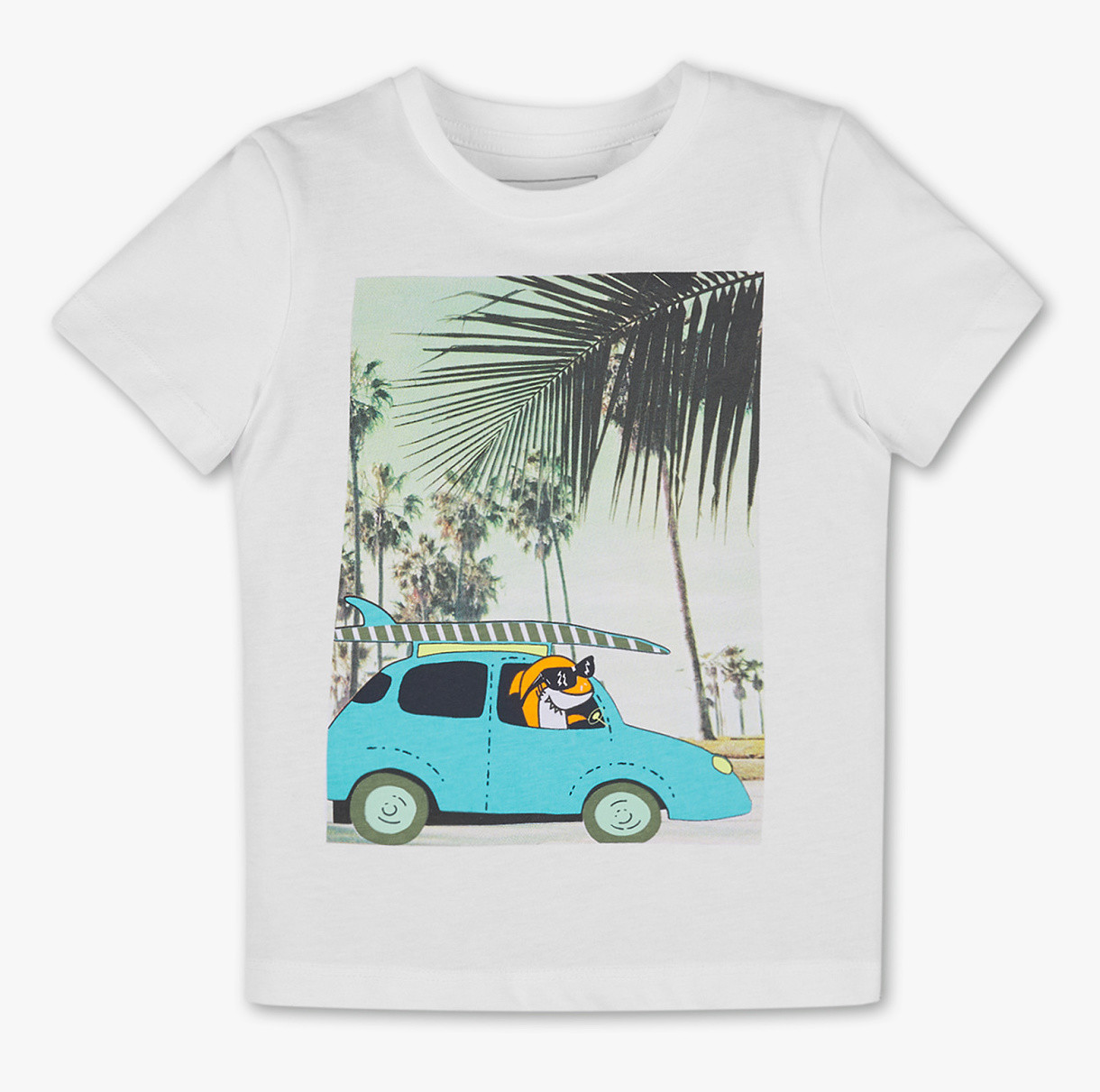 Белая футболка с акулой на мальчика 5-6 лет C&A Германия Размер 116