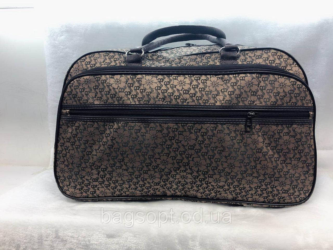 Дорожная женская сумка саквояж коричневая с цветами для путешествий