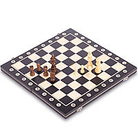 Гральний шаховий набір дерев'яний ZELART Дошка 39 x 39 см Чорно-білий (W8015)