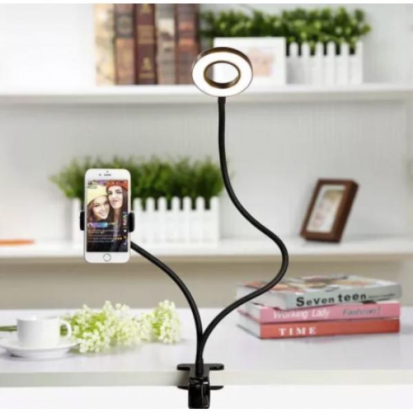 Держатель для телефона с LED подсветкой кольцо на прищепке для прямых трансляций. Live streaming, селфи кольцо