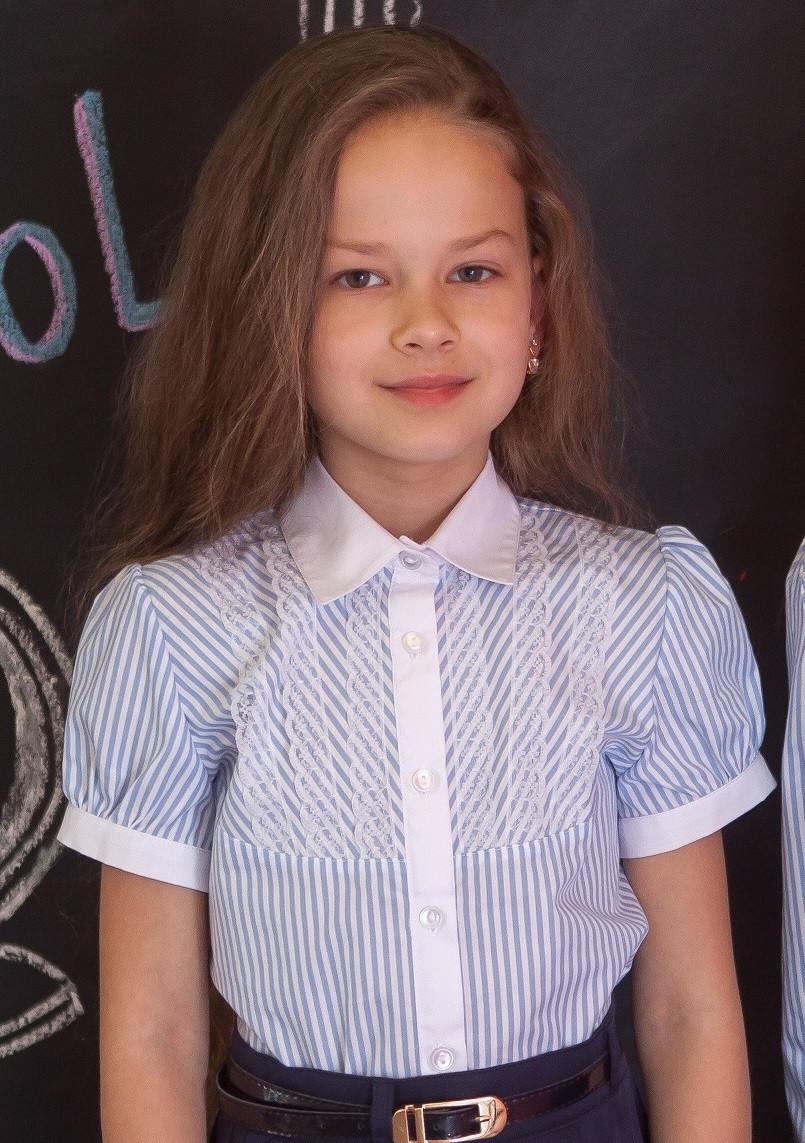 Блузка сорочка для дівчинки в смужку Світ блуз мод. 7002к р. 128