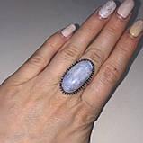 Кольцо овальное с лунным камнем 15,5-16 размер. Натур. лунный камень., фото 2