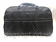 Сумка-саквояж дорожня чорна текстильна велика для подорожей