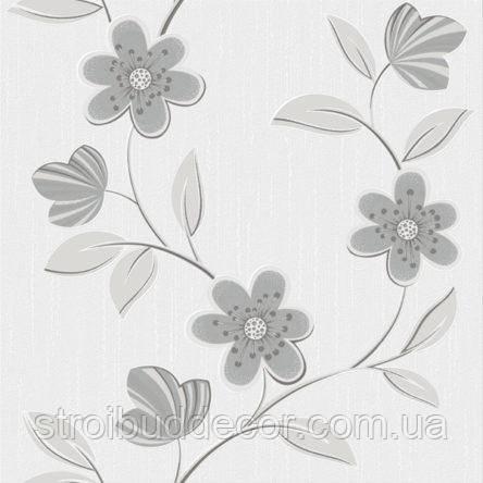 Обои бумажные акриловые (пенообои) а  0,53*10,05 цветы Слобожанские серый