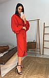 Женское платье-миди на запах с объемными рукавами красное, черное, бежевое, фото 2
