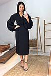 Женское платье-миди на запах с объемными рукавами красное, черное, бежевое, фото 3