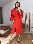 Женское платье-миди на запах с объемными рукавами красное, черное, бежевое, фото 6