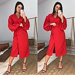 Женское платье-миди на запах с объемными рукавами красное, черное, бежевое, фото 7