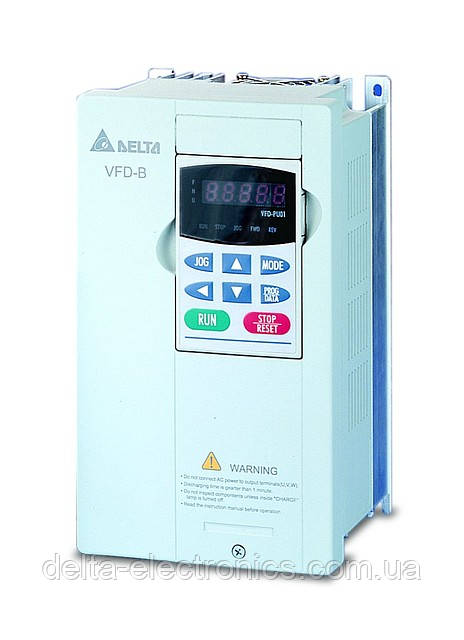 Перетворювач частоти Delta Electronics, 2,2 кВт, 230В,1ф.,векторний, загальнопромисловий,VFD022B21A