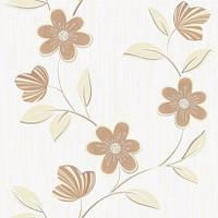 Обои бумажные акриловые (пенообои) а  0,53*10,05 цветы Слобожанские коричневый