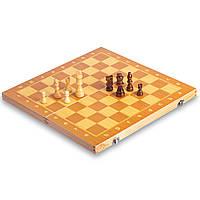 Шаховий набір дорожній ZELART Фішки дерев'яні магнітні Дошка 39x 39см Коричневий (W6704)