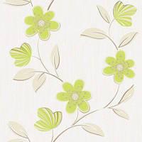 Обои бумажные акриловые (пенообои) а  0,53*10,05 цветы Слобожанские зеленый