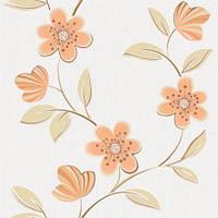 Обои бумажные акриловые (пенообои) а  0,53*10,05 цветы Слобожанские персик