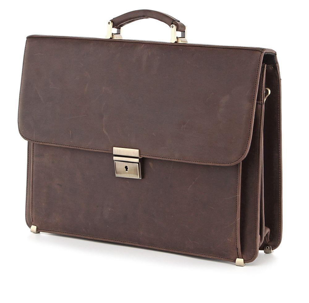Портфель SHVIGEL 00754 из винтажной кожи Коричневый, Коричневый