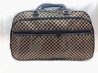 Коричневая дорожная женская сумка-саквояж текстильная стильная