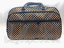 Коричнева жіноча дорожня сумка-саквояж текстильна стильна