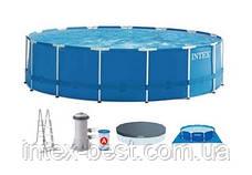 Каркасный бассейн Intex 28242, (457 x 122 см) (Картриджный фильтр-насос 3 785 л/ч, лестница, тент, подстилка), фото 3