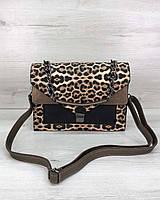 Леопардовая женская коричневая сумка портфель с длинным ремешком через плечо, фото 1