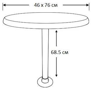 Стол овальный для катера Sf 45х76 см комплект основание пластик, фото 2